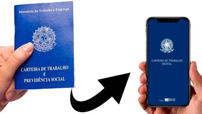 Imagem da carteira de trabalho física migrando para app de celular